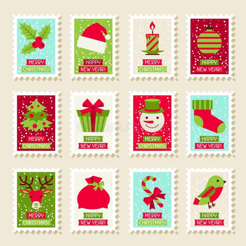 Grupo de selos postais com Natal e ano novo ilustração royalty free