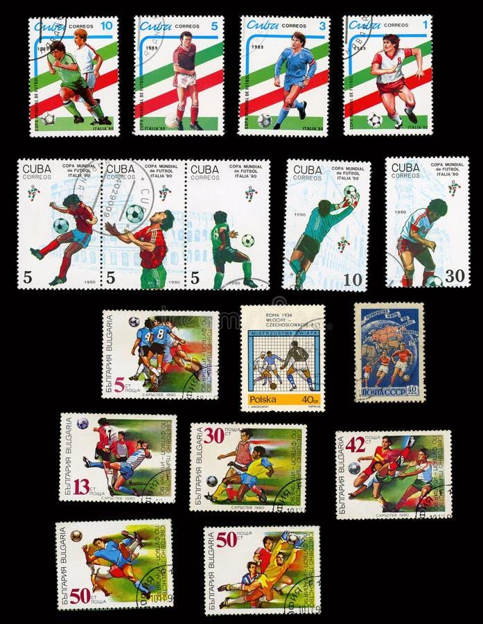 Grupo de selos postais para o campeonato do mundo fotografia de stock