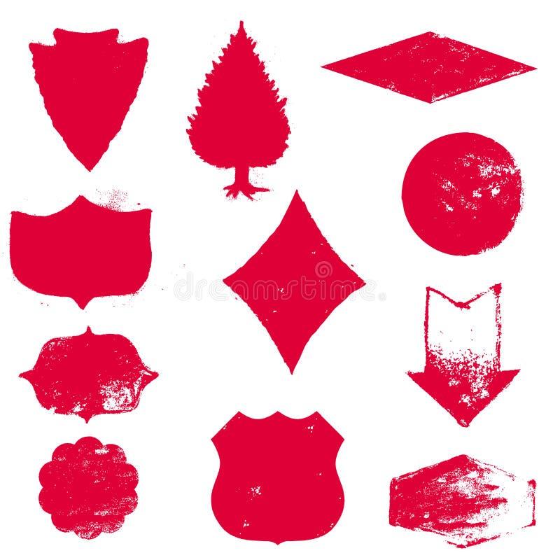Grupo de selos Selos do vermelho Selo de borracha da textura do Grunge textured ilustração royalty free