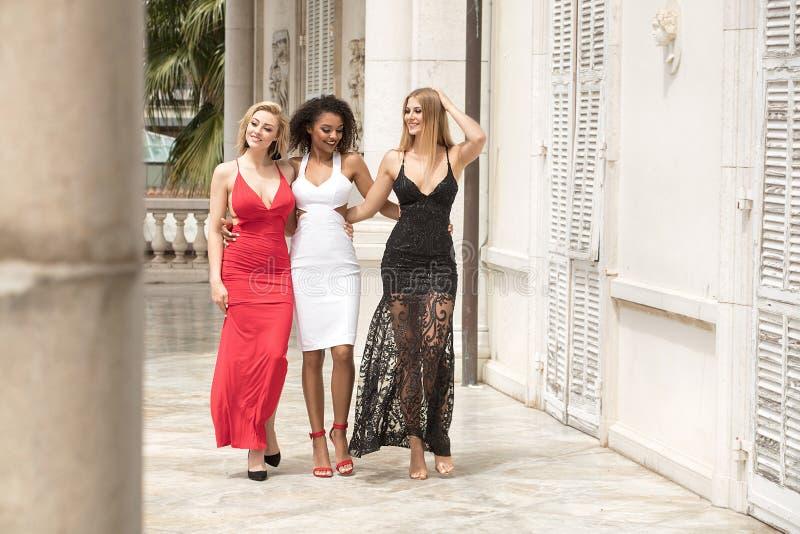 Grupo de senhoras 'sexy' bonitas em vestidos elegantes no summe ensolarado imagem de stock