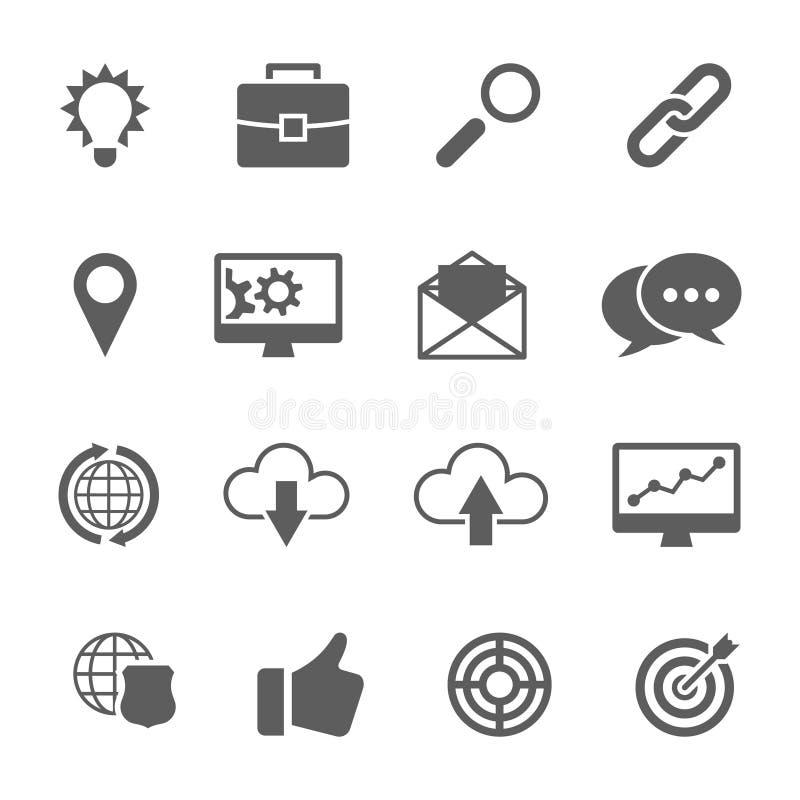 Grupo de SEO e de ícones do desenvolvimento ilustração do vetor
