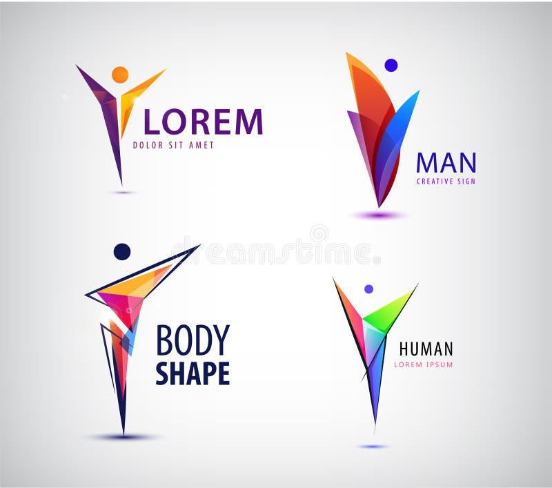 Grupo de ser humano, logotipos do vetor do líder Sinal positivo geométrico do homem ilustração royalty free