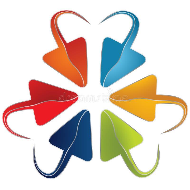 Grupo de setas coloridas com uma extremidade arredondada ilustração royalty free