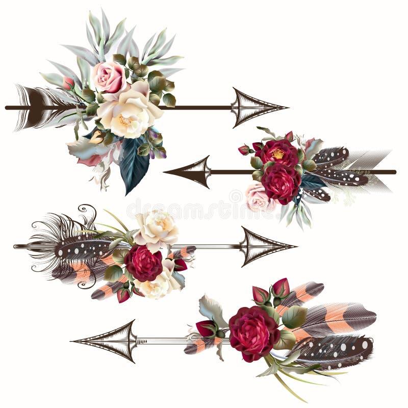 Grupo de setas do boho do vetor com rosas e penas ilustração royalty free
