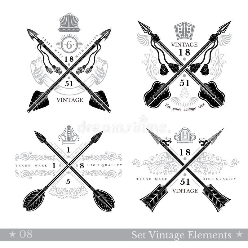 Grupo de setas transversais com elemento do teste padrão Moldes para o negócio, etiquetas do estilo do vintage do moderno, logoti ilustração do vetor
