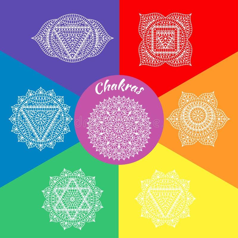 Grupo de sete chakras ilustração do vetor