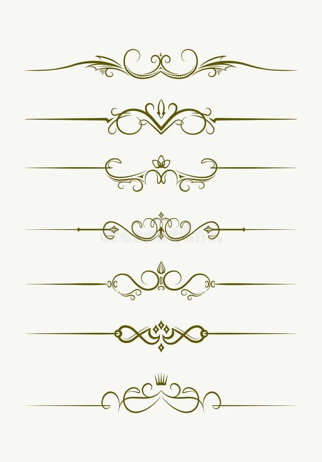 Grupo de sete divisores decorativos do texto do estilo do vintage Illu do vetor ilustração do vetor