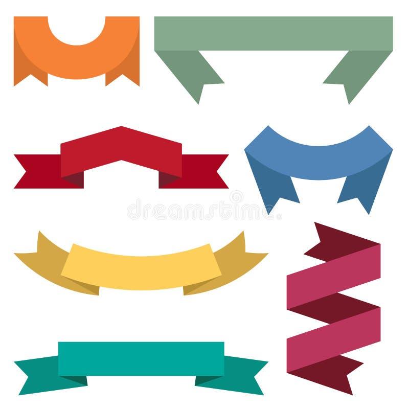 Grupo de sete fitas e bandeiras coloridas para o design web ilustração royalty free