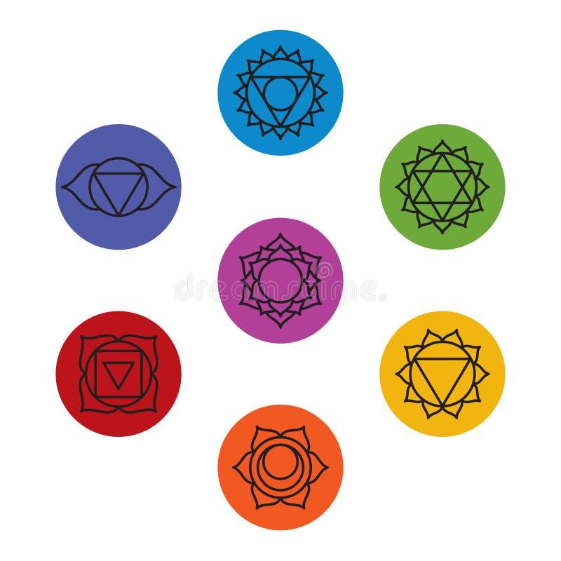 Grupo de sete símbolos do chakra Ioga, meditação imagens de stock