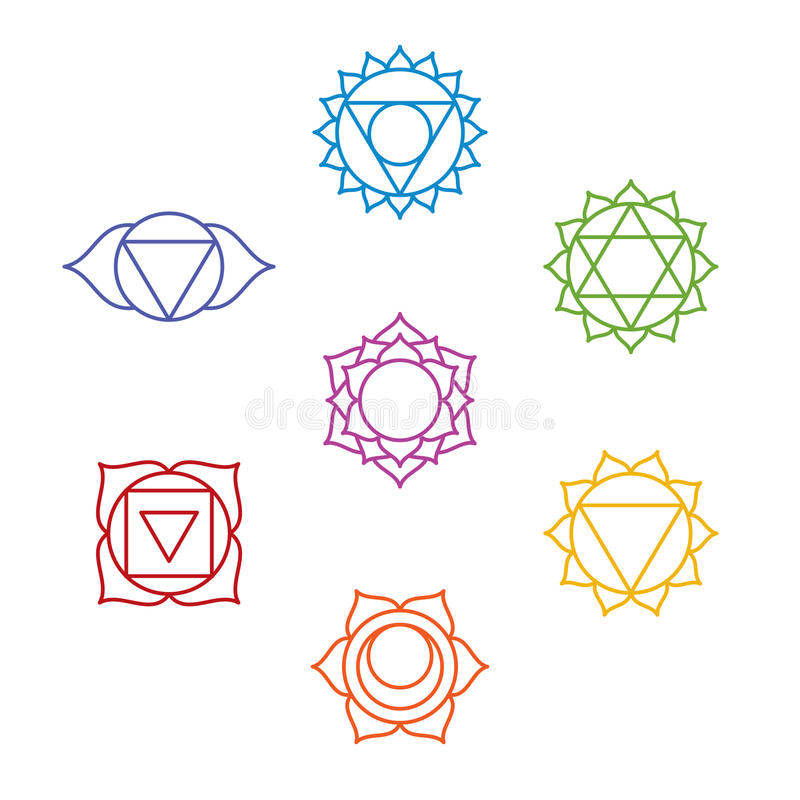 Grupo de sete símbolos do chakra Ioga, meditação