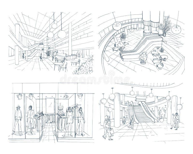 Grupo de shopping interior moderno Alameda do espaço da coleção vária Ilustração do esboço do contorno ilustração stock
