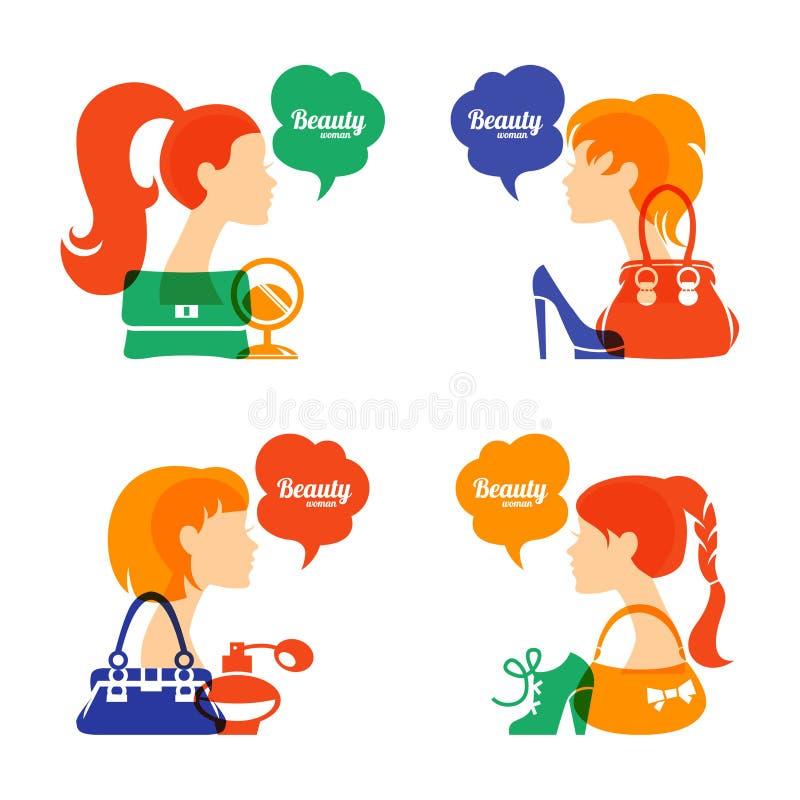 Grupo de silhueta bonita da menina com forma ilustração royalty free