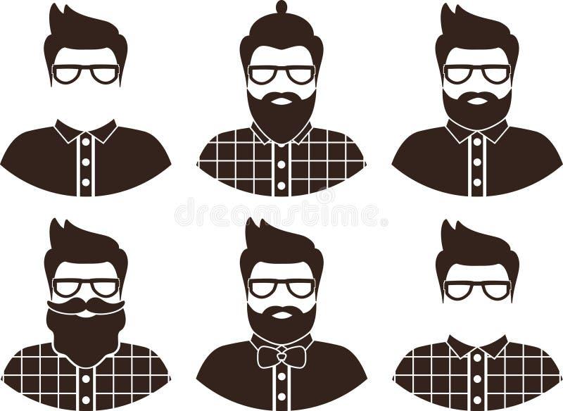 Grupo de silhueta do homem do moderno, ícone liso - um homem com vidros, bigode e barba, vestir em uma camisa de manta e laço imagens de stock royalty free
