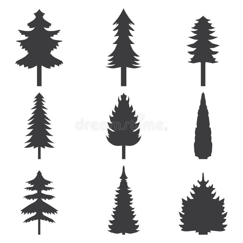 Grupo de silhueta estilizado abstrata das árvores do balack Ilustração do vetor ilustração stock