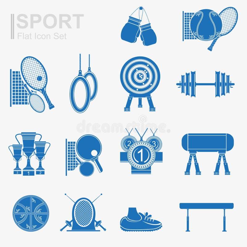 Grupo de silhueta lisa do azul do ícone do esporte do projeto ilustração royalty free