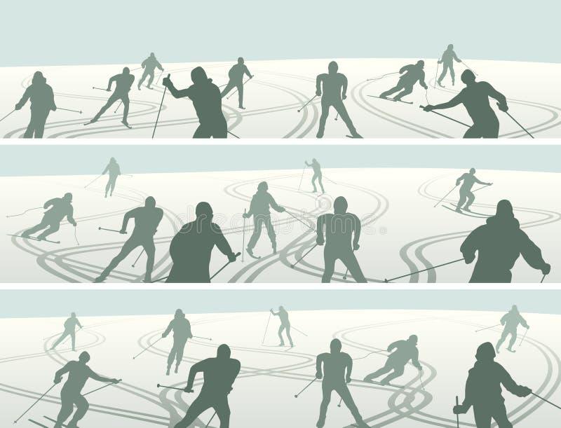 Grupo de silhuetas abstratas horizontais das bandeiras dos esquiadores no monte ilustração do vetor