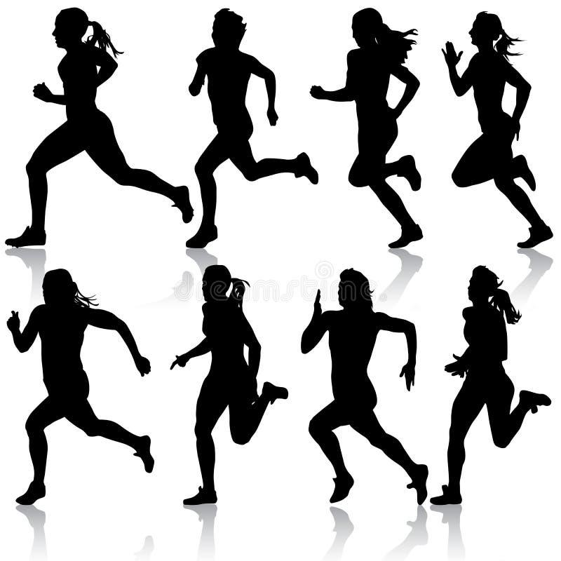 Grupo de silhuetas. Corredores na sprint, mulheres. ilustração do vetor