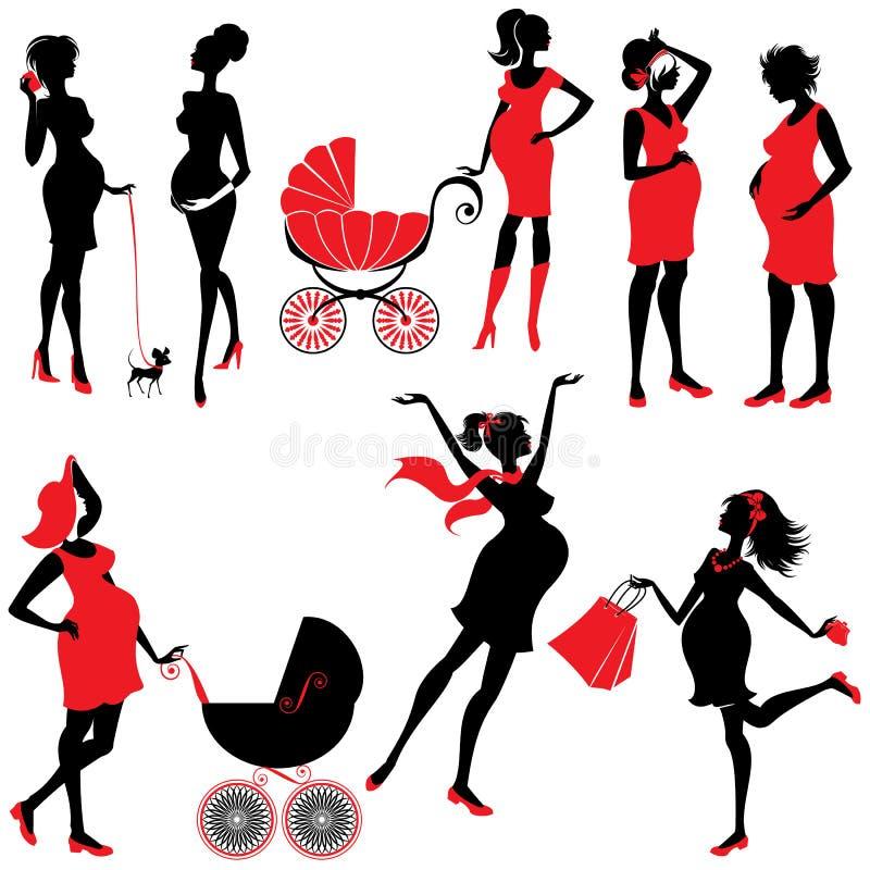 Grupo de silhuetas da mulher gravida nas cores pretas e vermelhas, isolador ilustração royalty free