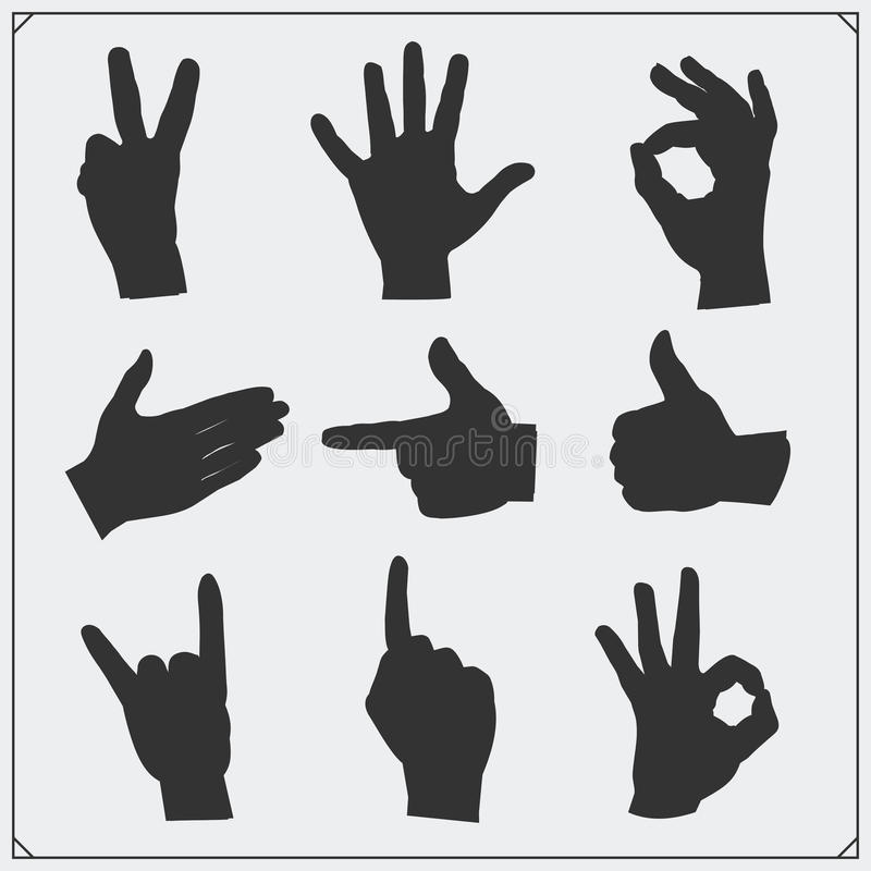 Grupo de silhuetas das mãos dos povos gestos diferentes ilustração stock