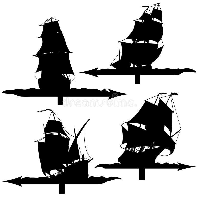 Grupo de silhuetas de aletas de tempo dos navios de navigação. ilustração stock