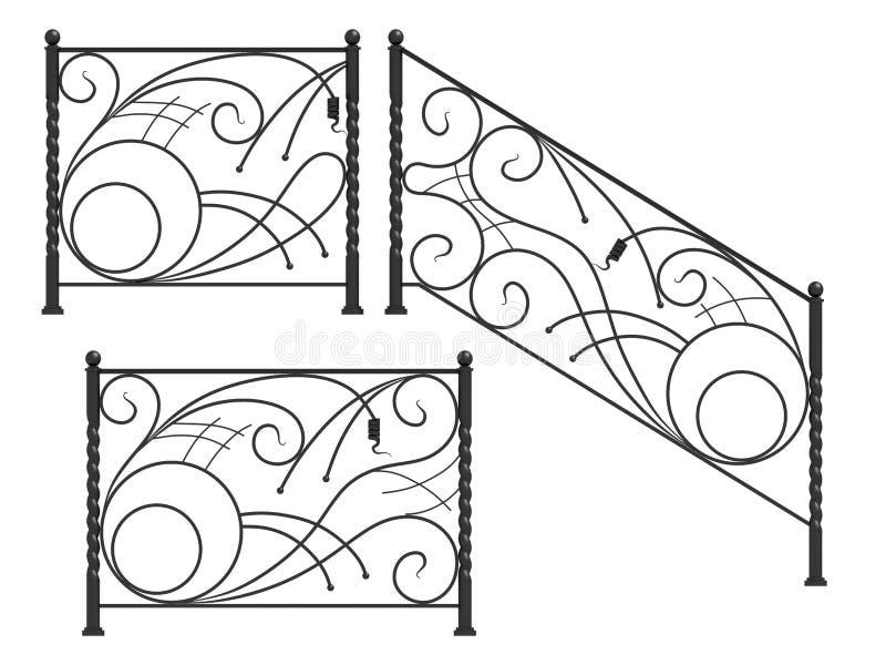 Grupo de silhuetas de cercas do ferro ilustração do vetor