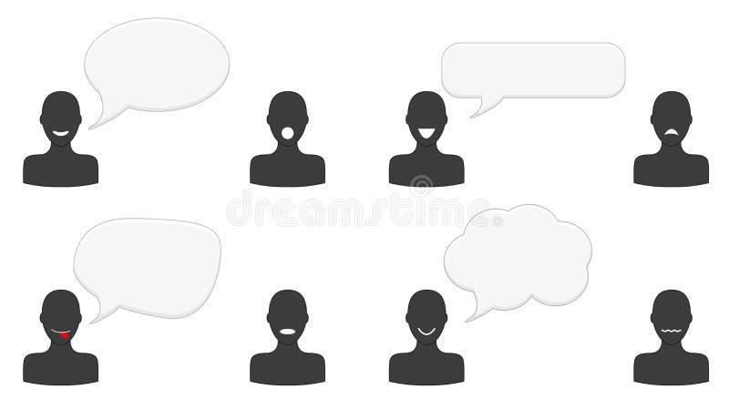 Grupo de silhuetas de fala ilustração royalty free