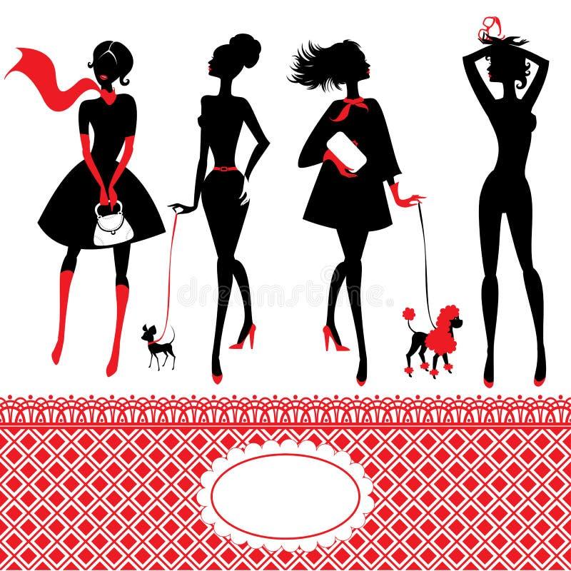 Download Grupo De Silhuetas De Meninas Elegantes Ilustração do Vetor - Ilustração de lifestyle, vestido: 29843919