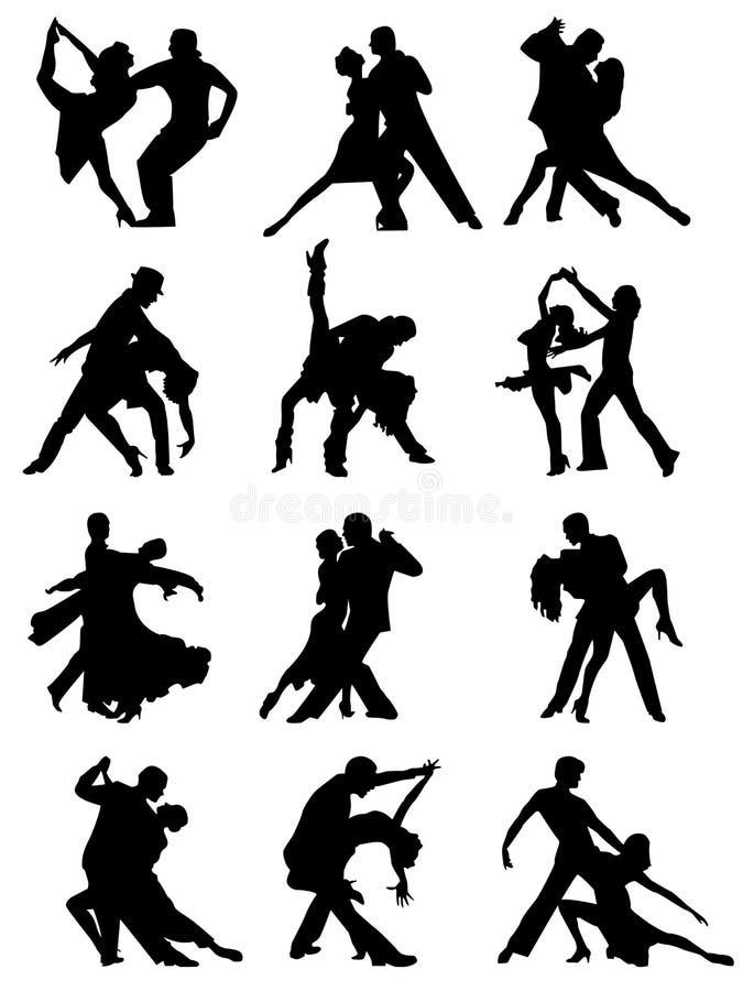 Grupo de silhuetas de pares da dança. ilustração do vetor