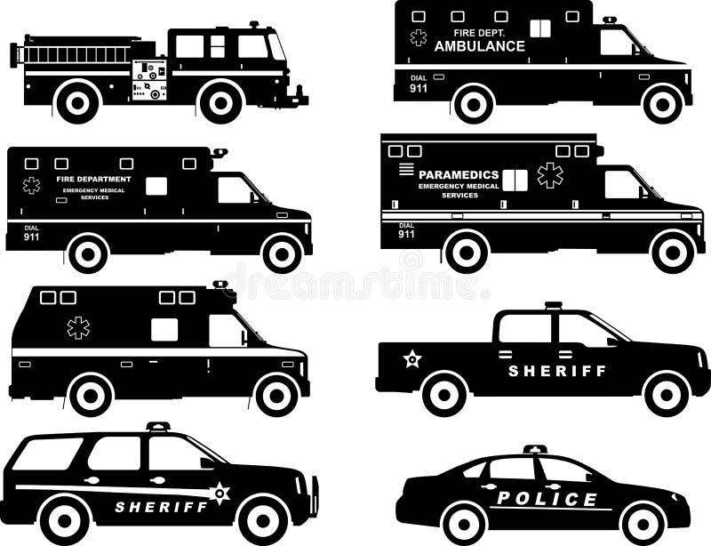 Grupo de silhuetas diferentes carro de bombeiros, polícia ilustração royalty free