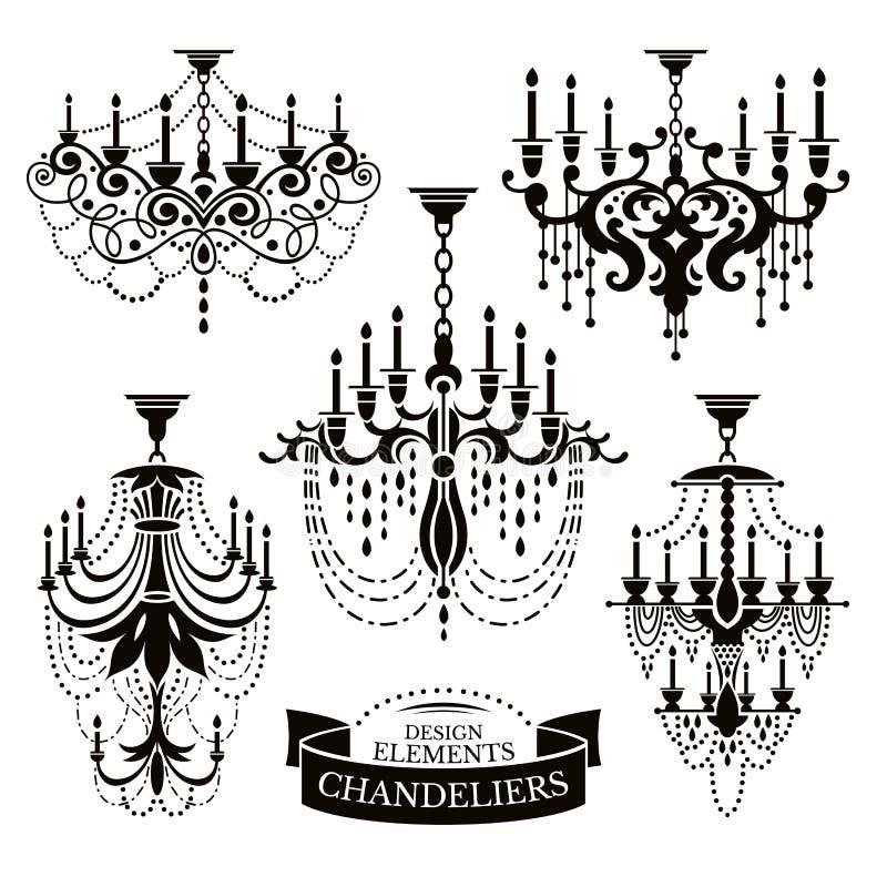 Grupo de silhuetas do candelabro ilustração royalty free