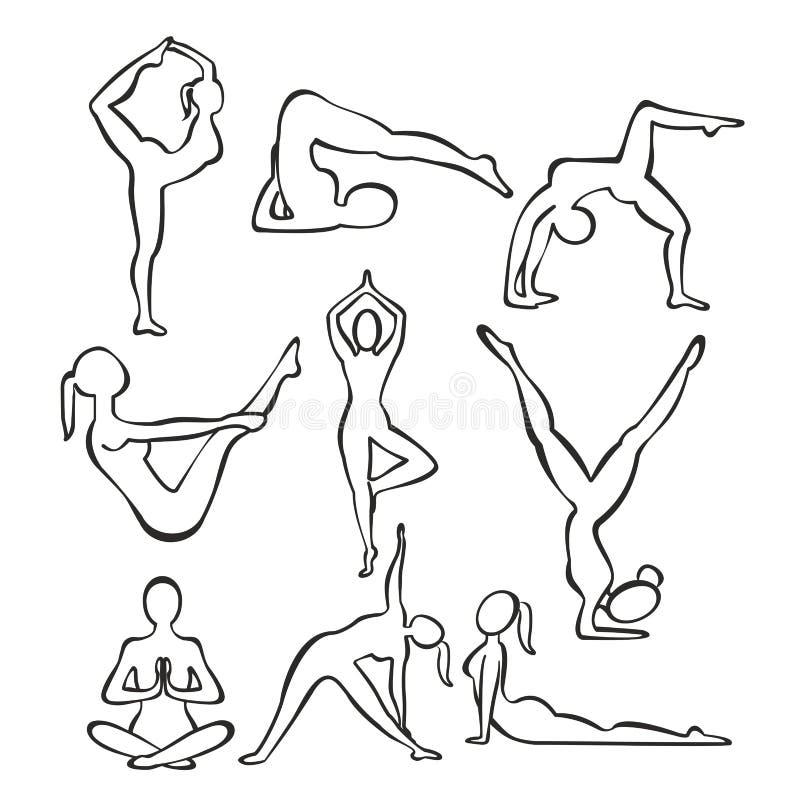 Grupo de silhuetas do contorno de posições praticando da ioga da menina magro, linha formas da ilustração do vetor de mulher que  ilustração do vetor