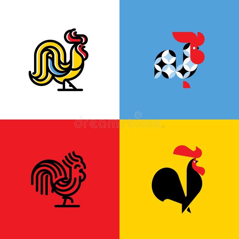 Grupo de silhuetas do galo Moldes lisos modernos do logotipo do vetor ilustração royalty free