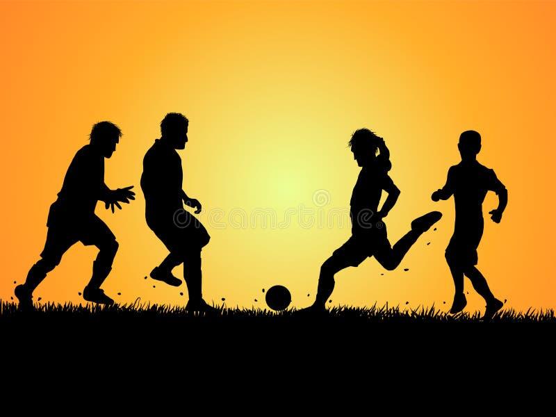Grupo de silhuetas do jogador e da grama de futebol ilustração royalty free