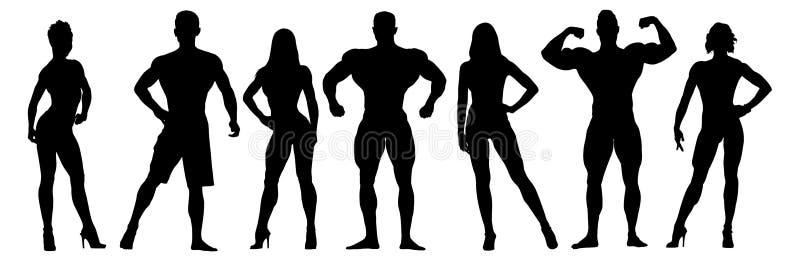 Grupo de silhuetas do vetor dos halterofilistas posing ilustração stock