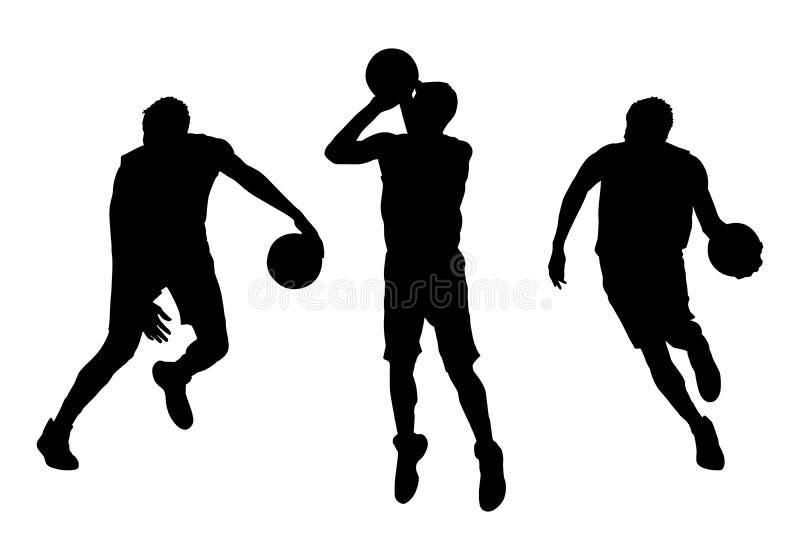 Grupo de silhuetas do vetor dos jogadores de basquetebol ilustração do vetor