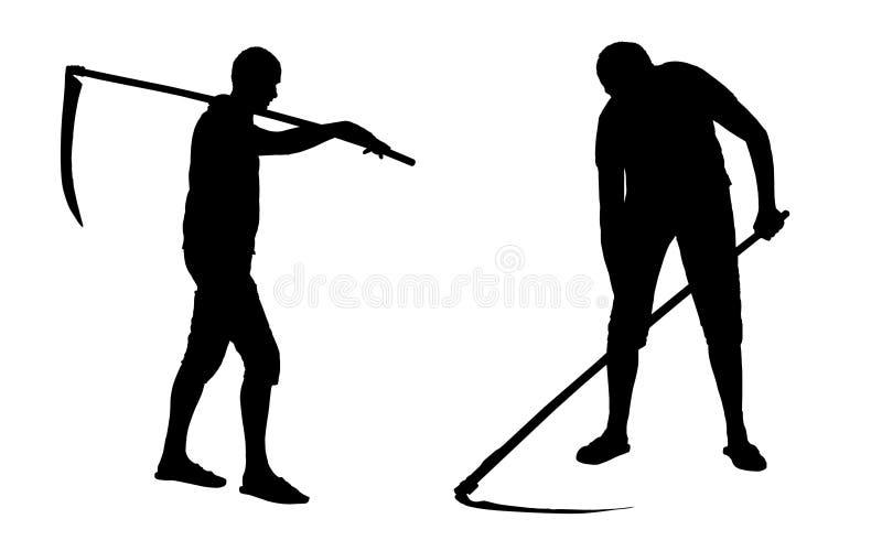Grupo de silhuetas do vetor de um homem com grama do corte da foice ilustração do vetor