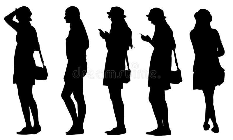 Grupo de silhuetas dos adolescentes ilustração do vetor