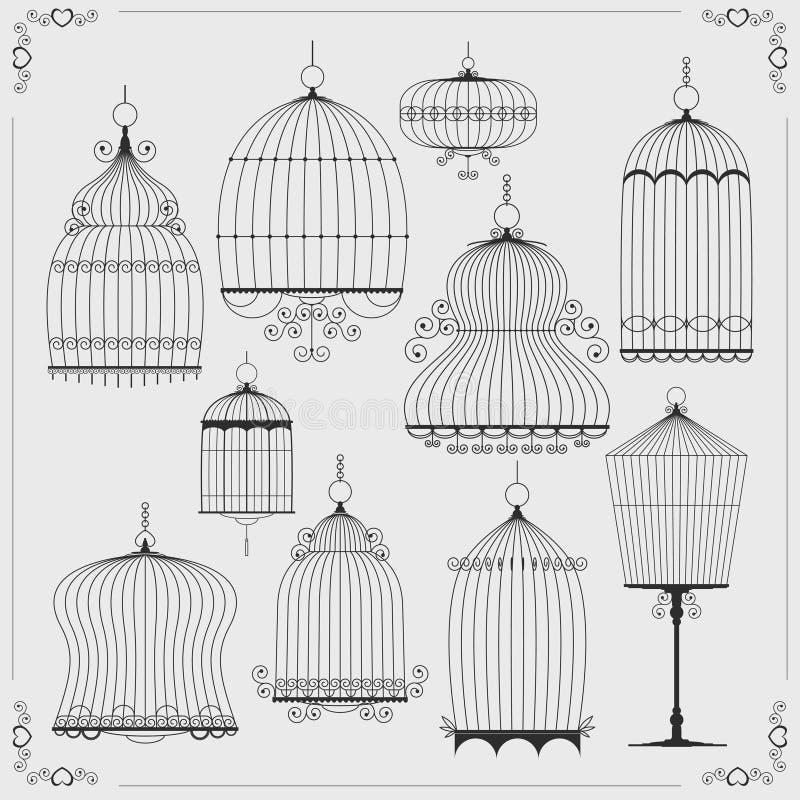 Grupo de silhuetas dos birdcages ilustração royalty free