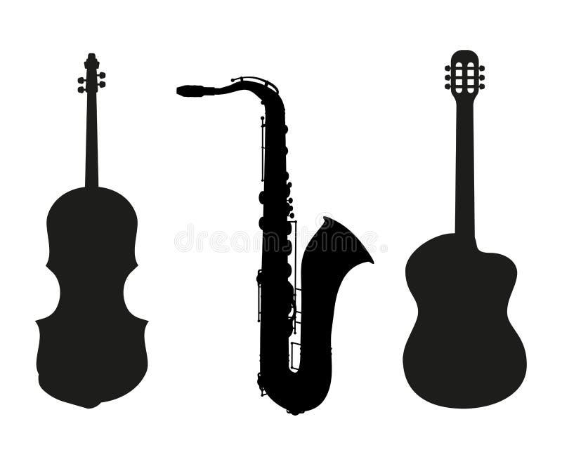 Grupo de silhuetas dos instrumentos de música ilustração royalty free