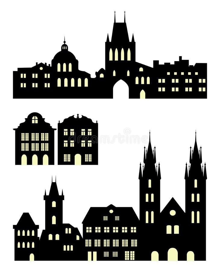Grupo de silhuetas europeias da cidade Construções históricas de Praga ilustração stock