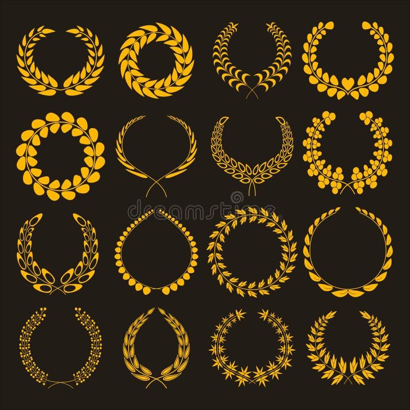 Grupo de silhuetas de grinaldas douradas do louro Formas diferentes dos ícones do vetor da grinalda do ouro isoladas no fundo bra ilustração stock