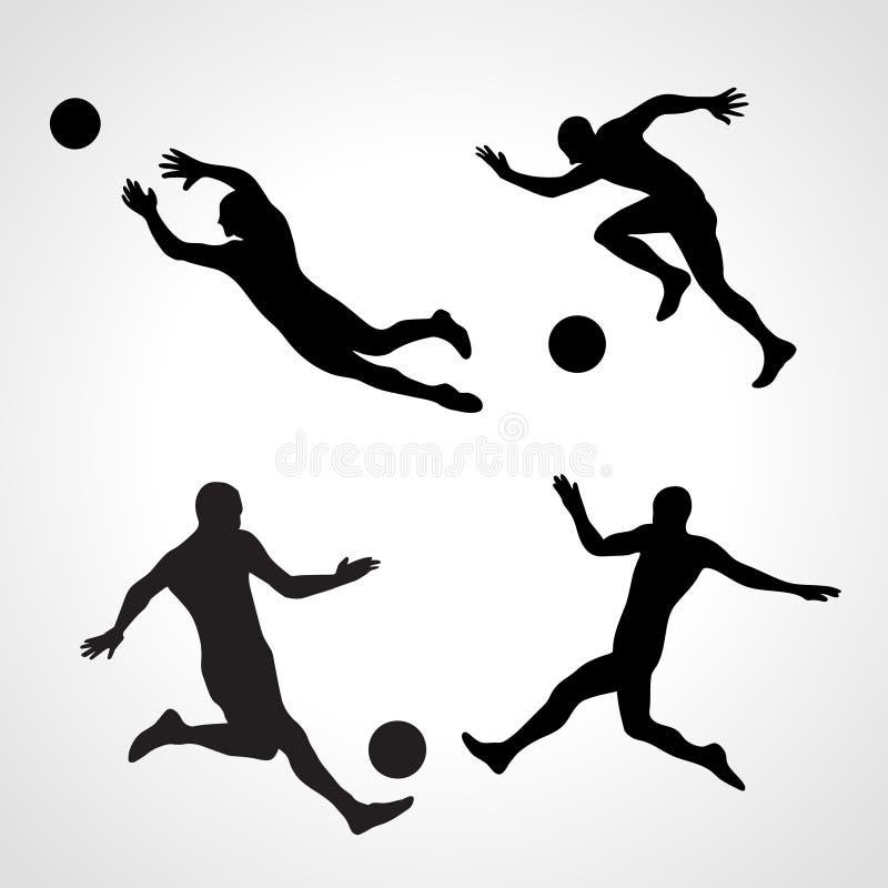 Grupo de silhuetas de jogadores de futebol dinâmicos das poses ilustração stock