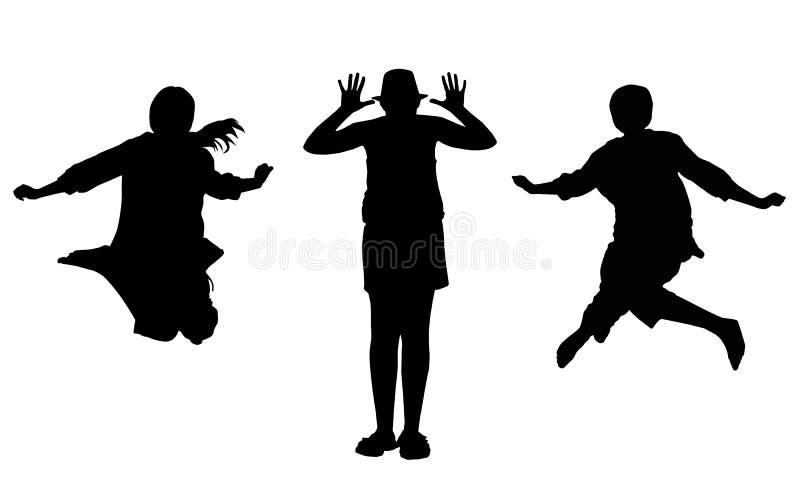 Grupo de silhuetas pretas de uma menina ilustração stock