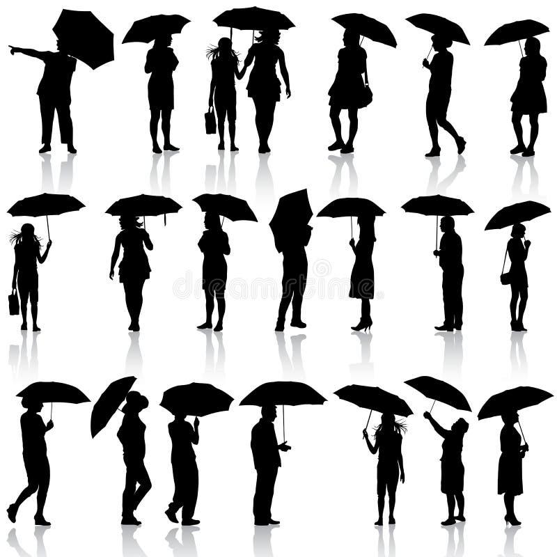 Grupo de silhuetas pretas dos homens e das mulheres com ilustração stock