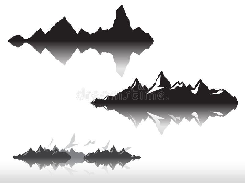 Grupo de silhuetas preto e branco da montanha Beira do fundo de montanhas rochosas Ilustração do vetor ilustração stock