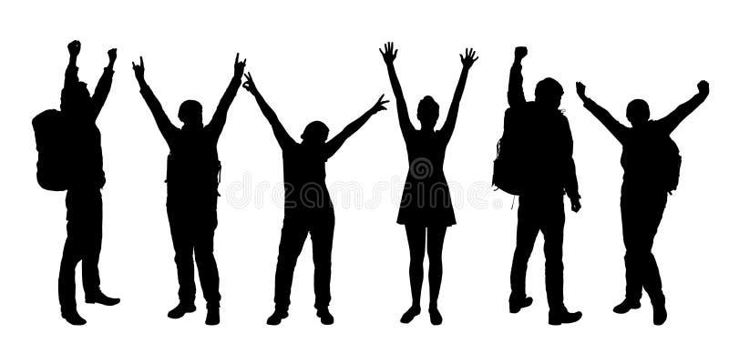 Grupo de silhuetas realísticas dos povos que apreciam com mãos acima ilustração stock