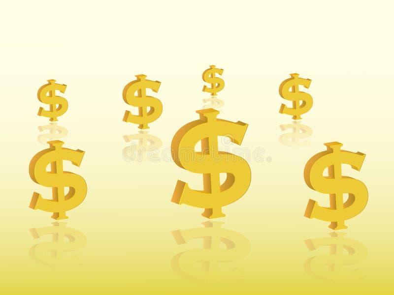 Grupo de sinais de dólar dourados representar a moeda com a ilustração do vetor da reflexão no fundo amarelo para expressar o inv ilustração royalty free