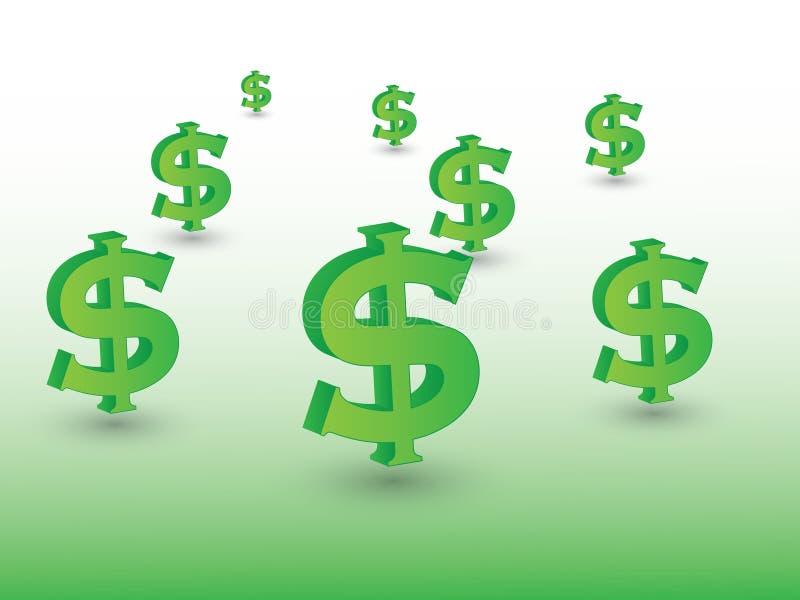 Grupo de sinais de dólar verdes representar a moeda com a ilustração do vetor da sombra no fundo claro para expressar o investime ilustração stock