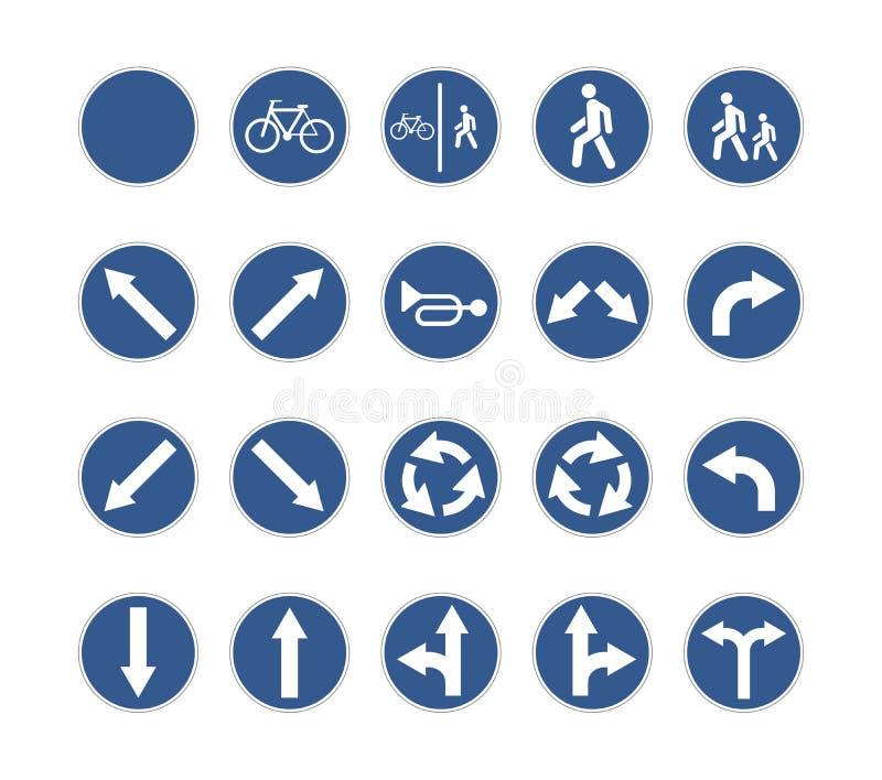 Grupo de sinais de estrada azuis redondos no branco ilustração royalty free