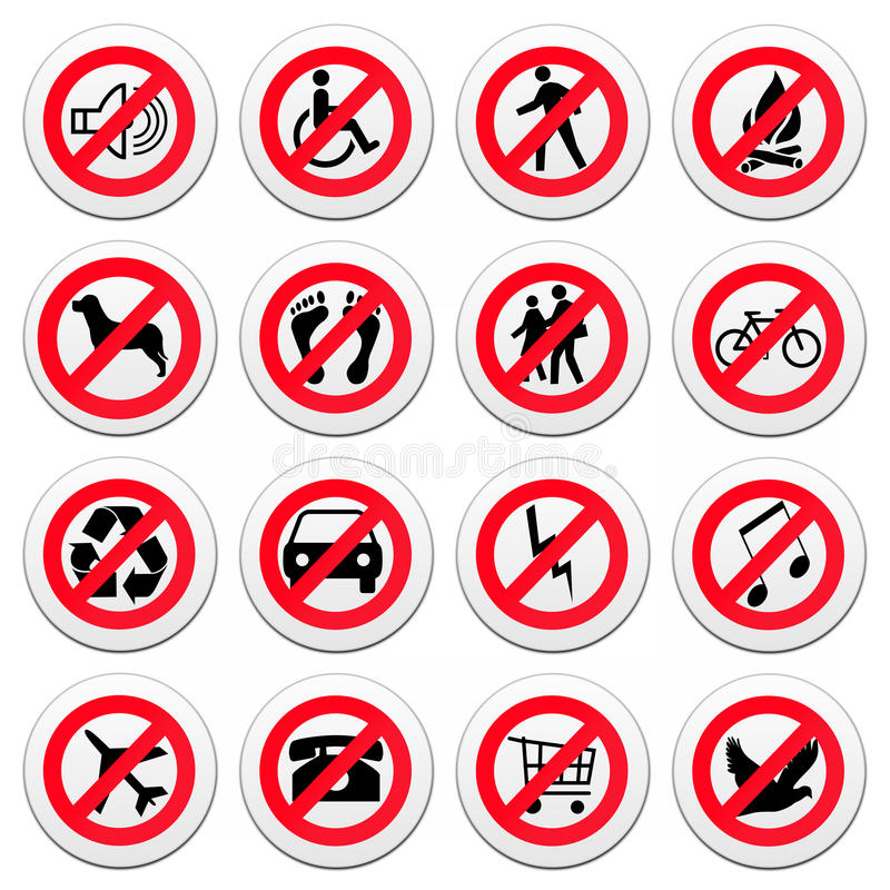 Grupo de sinais de estrada redondos ilustração royalty free